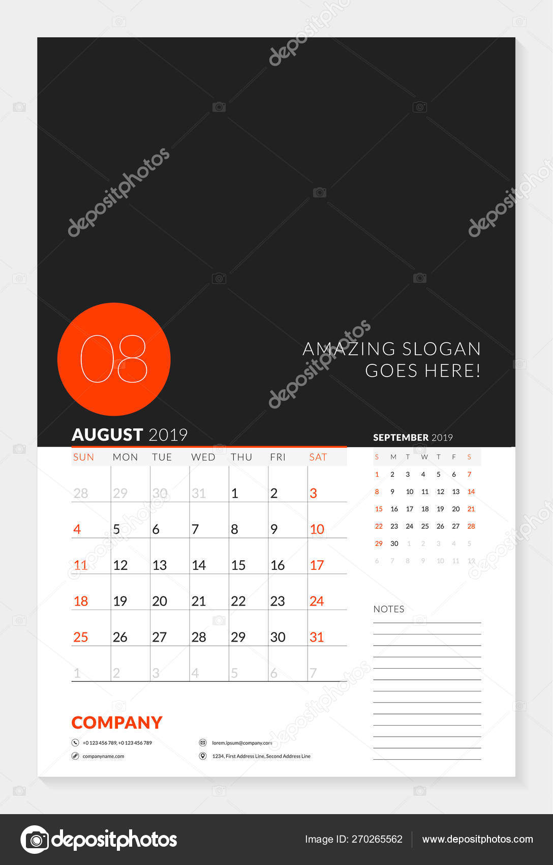 Wall Calendar Planner Template For 2019 Year. 2 Months On