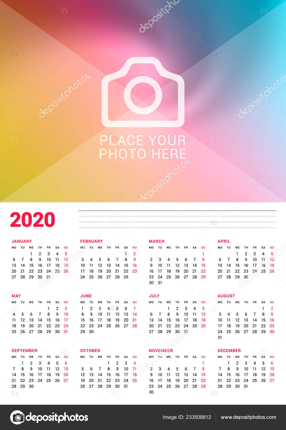 Wall Calendar Poster 2020 Year Vector Design Print Template