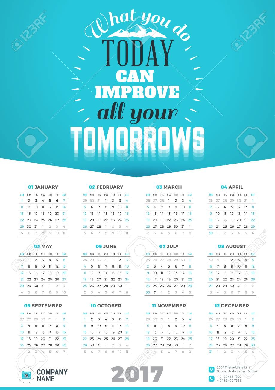 Wall Calendar Poster For 2017 Year. Vector Design Print Template With  Typographic Motivational Quote On Yellow Background. What You Do Today Can