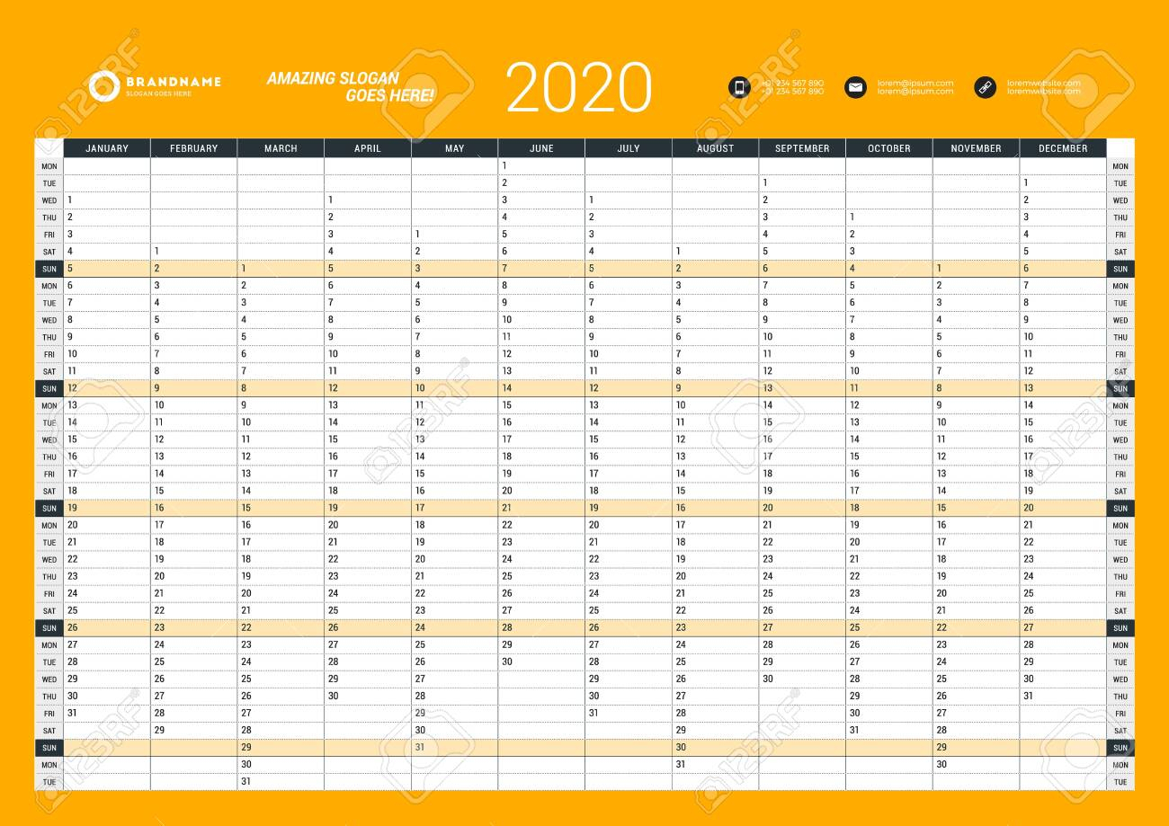 Wall Calendar Yearly Planner Template For 2020. Vector Design..
