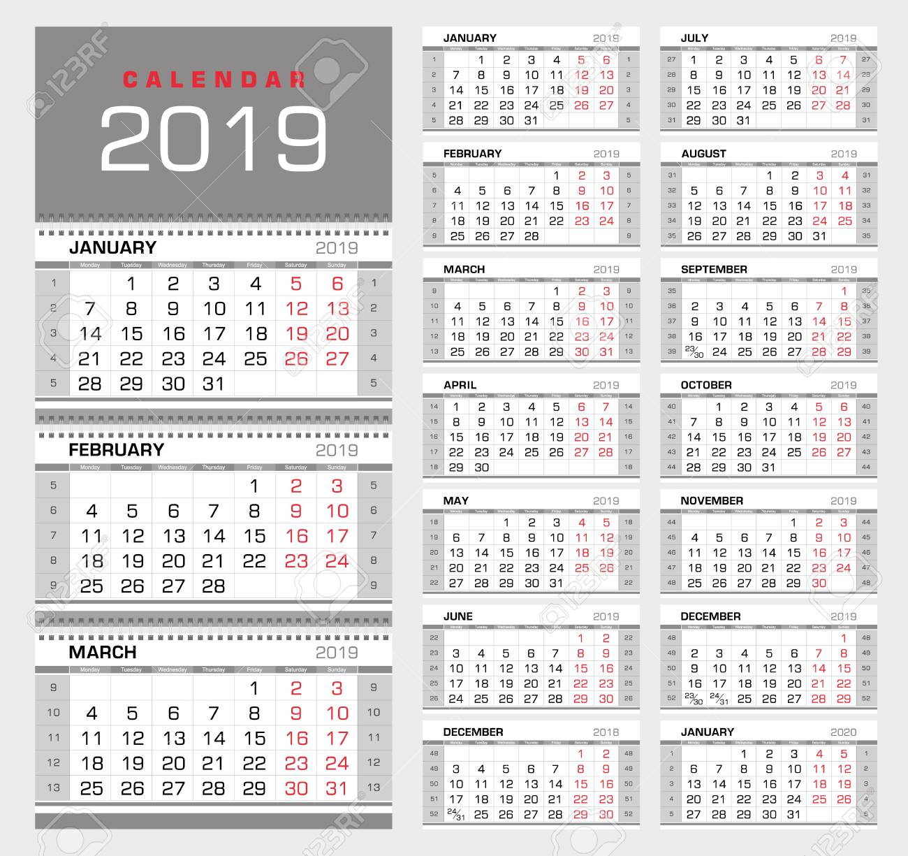 Wall Quarterly Calendar 2019 With Week Numbers. Week Start From..