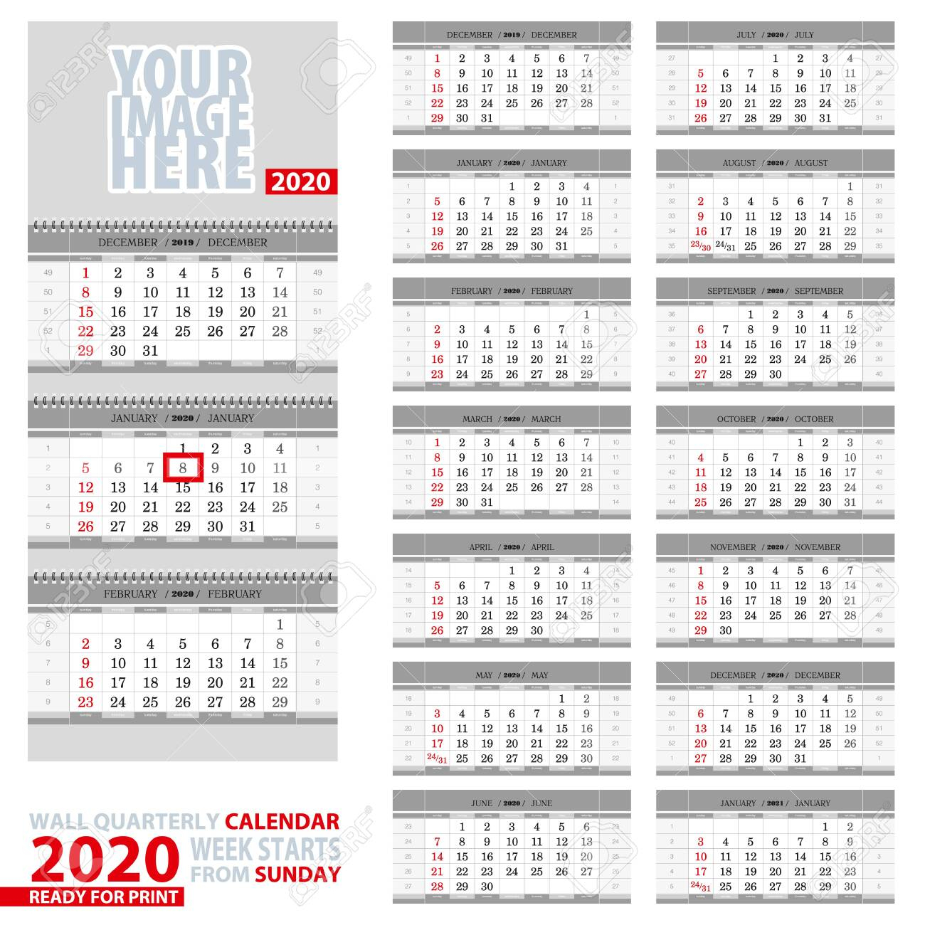 Wall Quarterly Calendar 2020. Week Start From Sunday, Ready For..