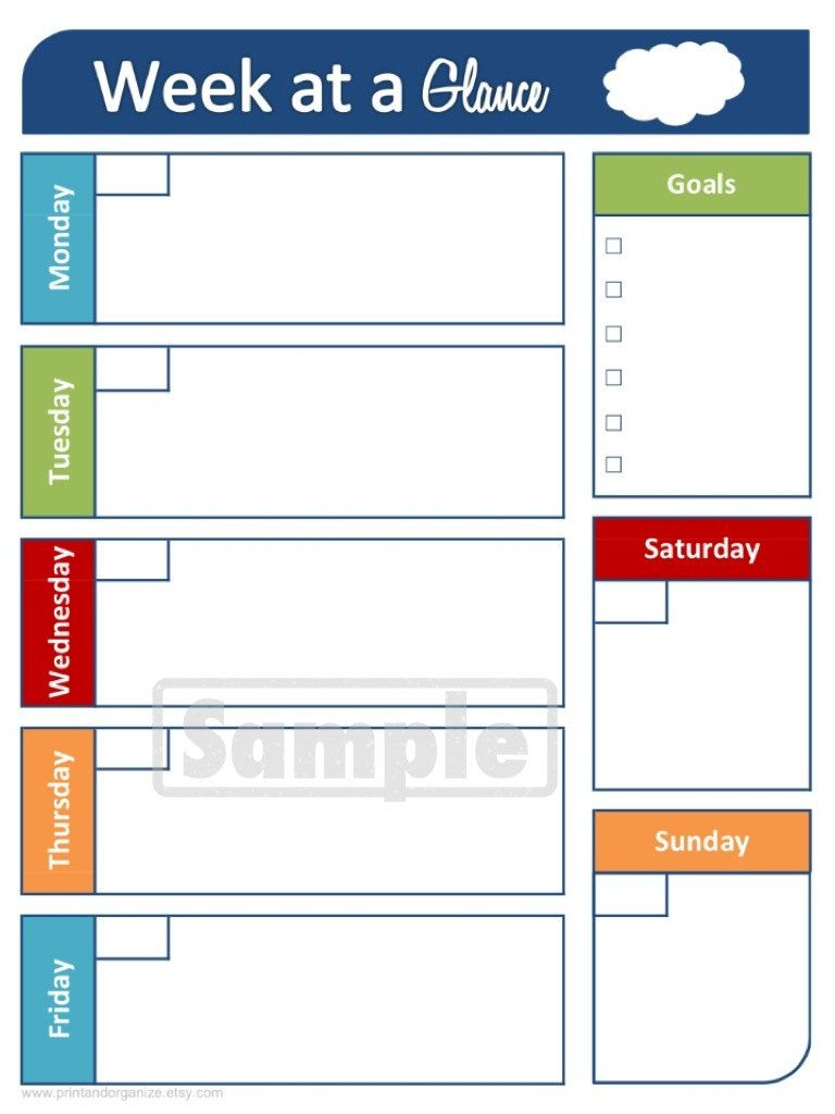 Week At A Glance Calendar - Printable Organizing Planner