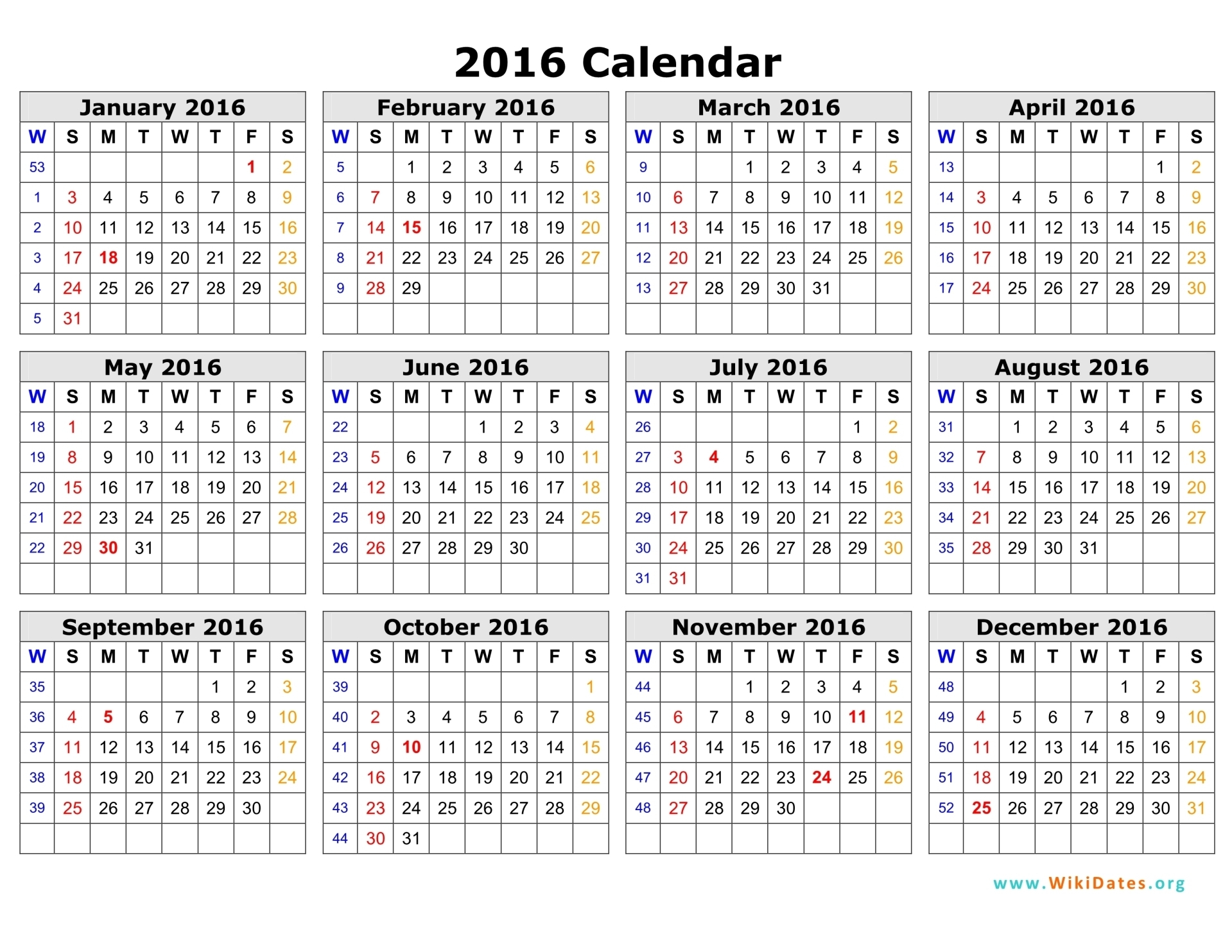 Week Numbered Calendar - Wpa.wpart.co