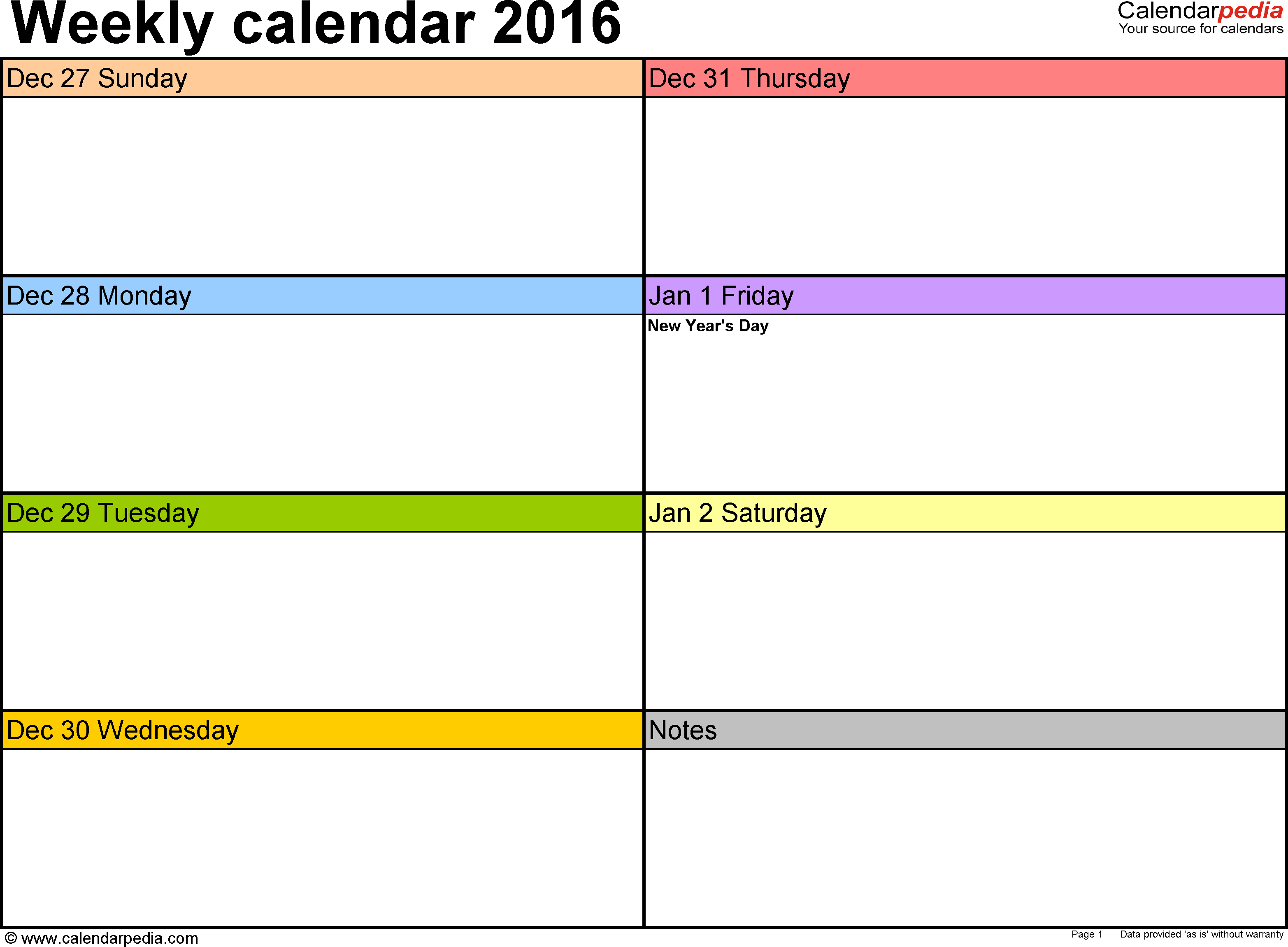 Weekly Calendar 2016: Template For Pdf Version 6, Landscape