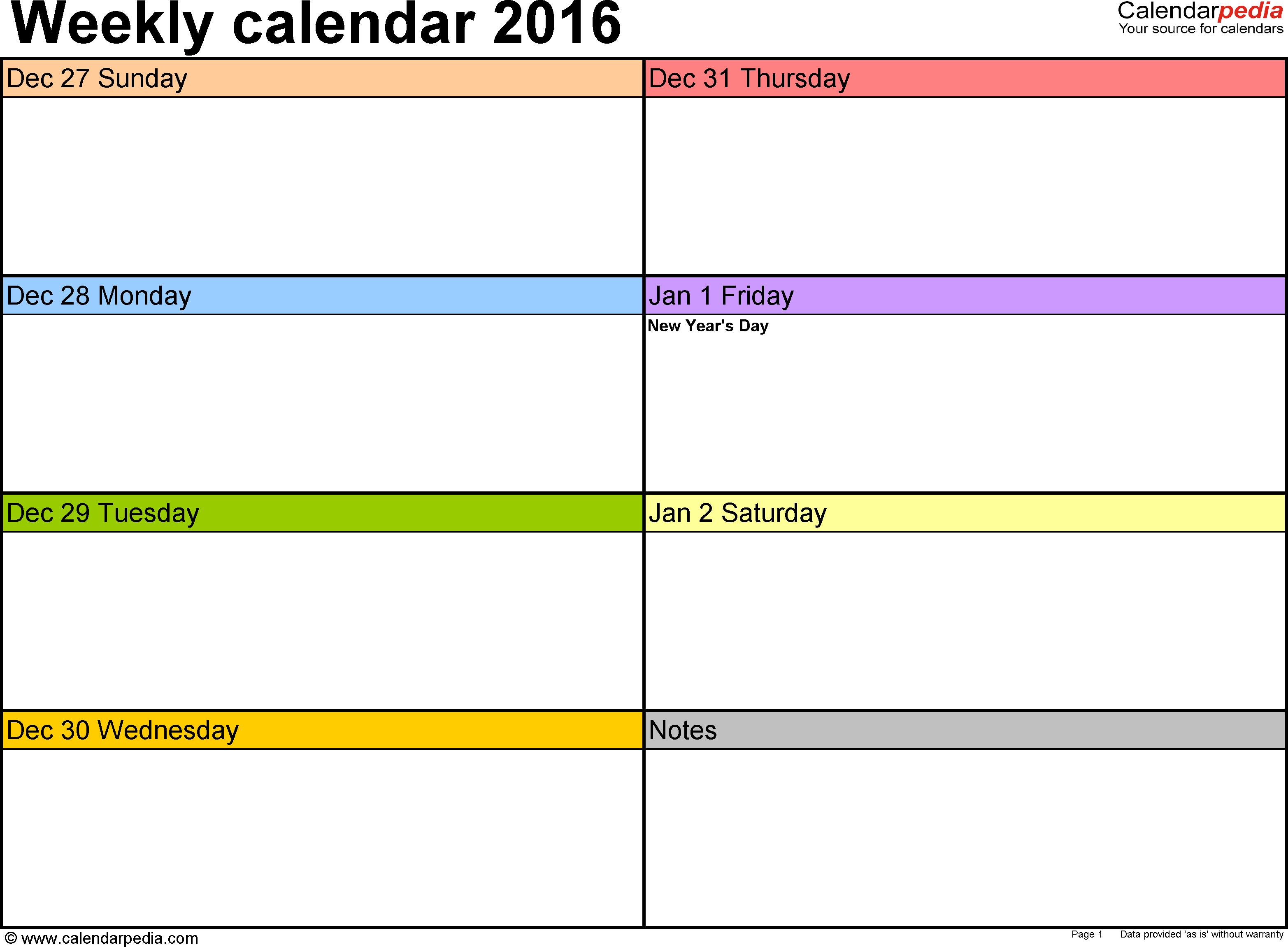 Weekly Calendar 2016: Template For Pdf Version 6, Landscape