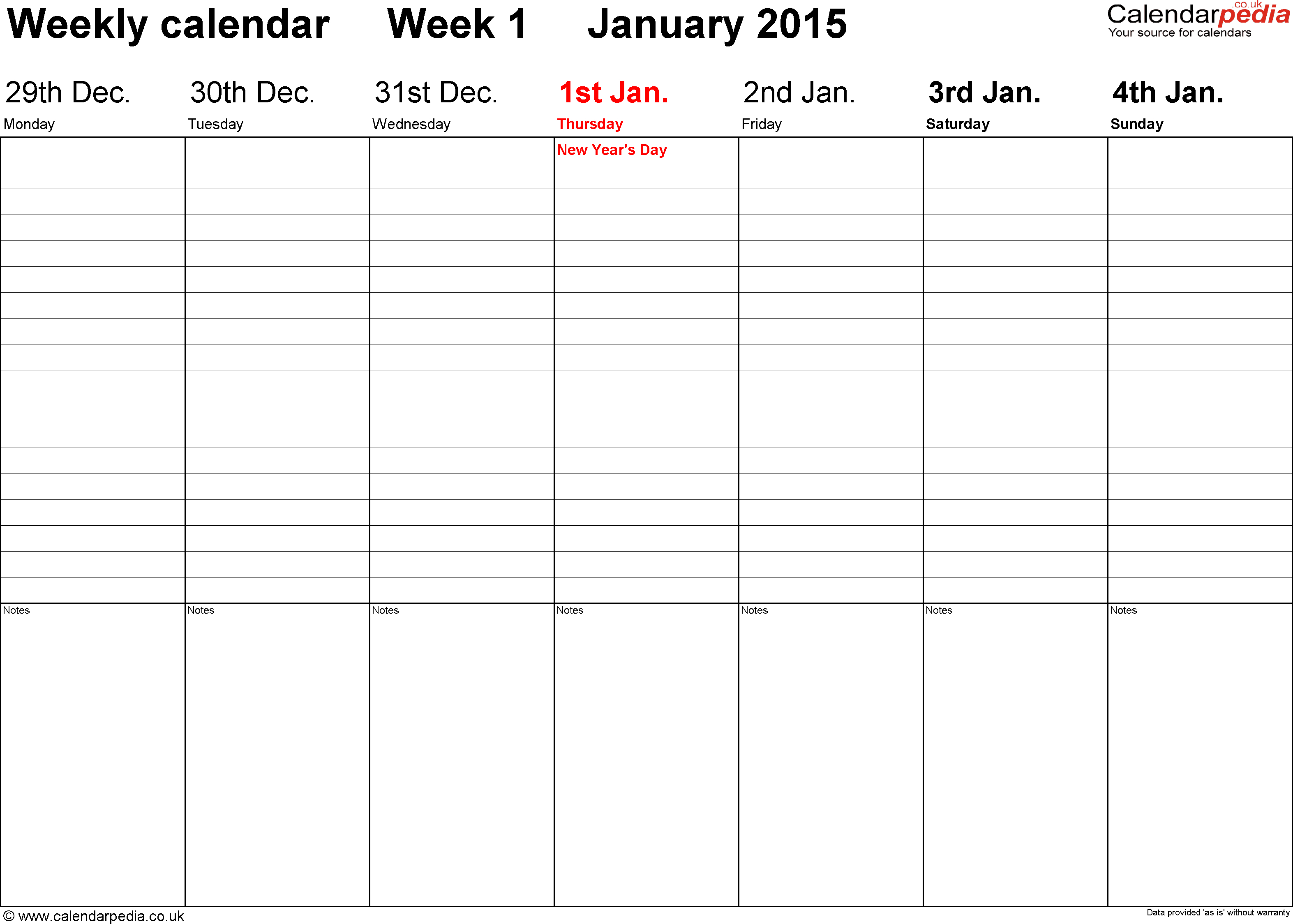 Weekly Calendar Template 2015 - Free Download