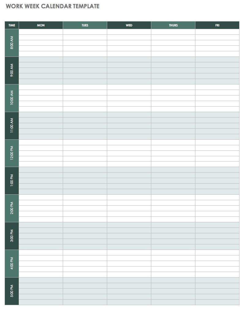 Weekly Calendar Template Excel | Free Printable Weekly