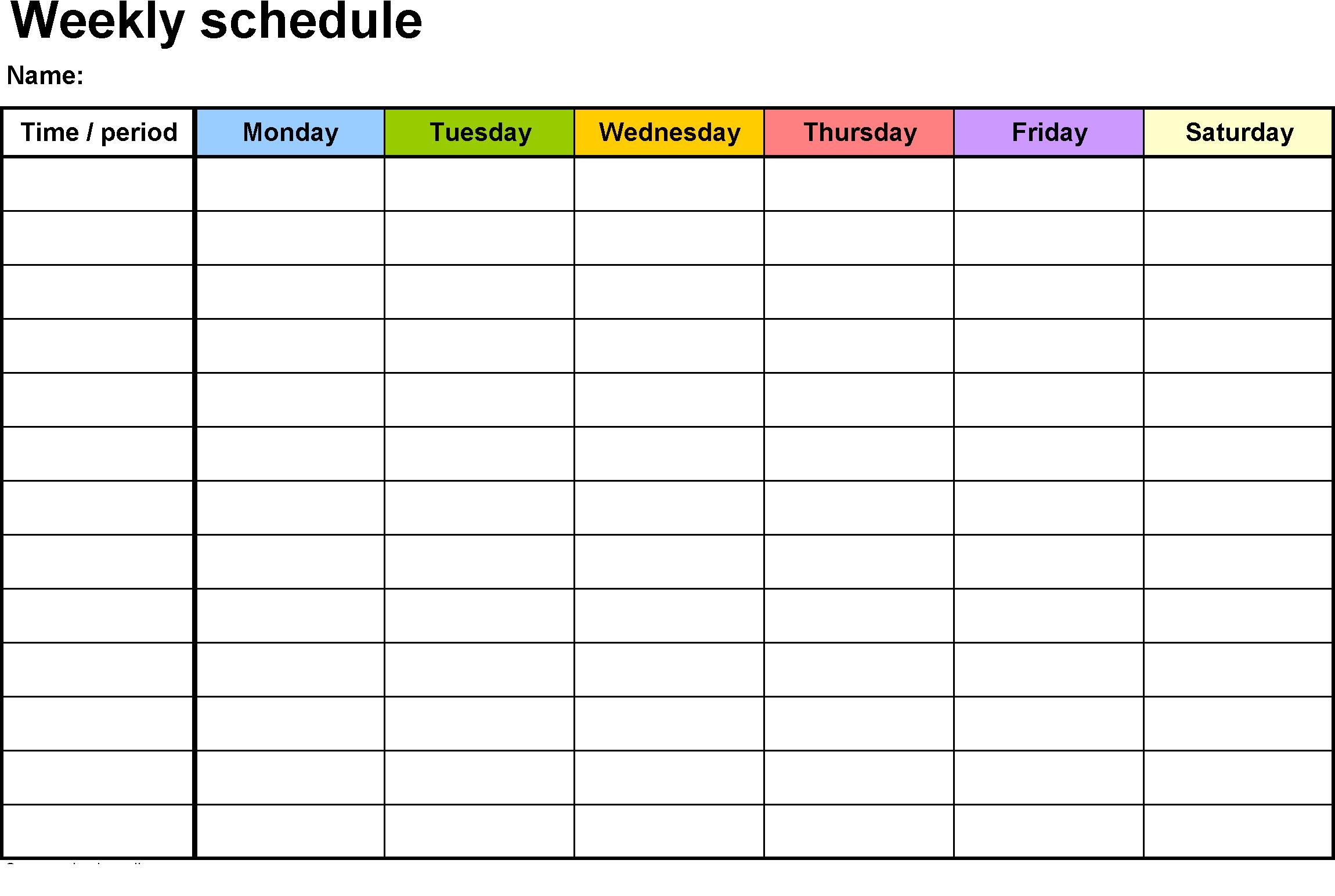Weekly Calendar Template Hd Planner | Charts | Weekly