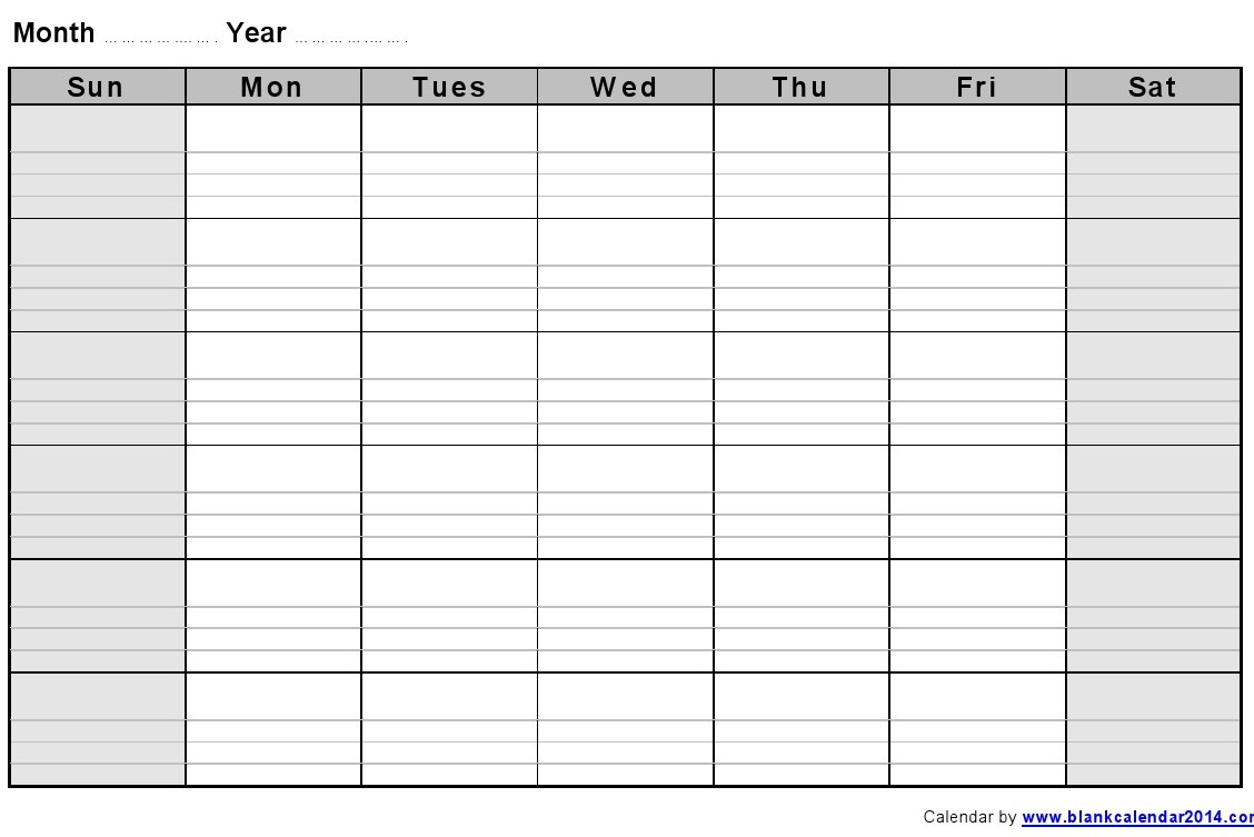Weekly Calendar With Lines – Printable Month Calendar