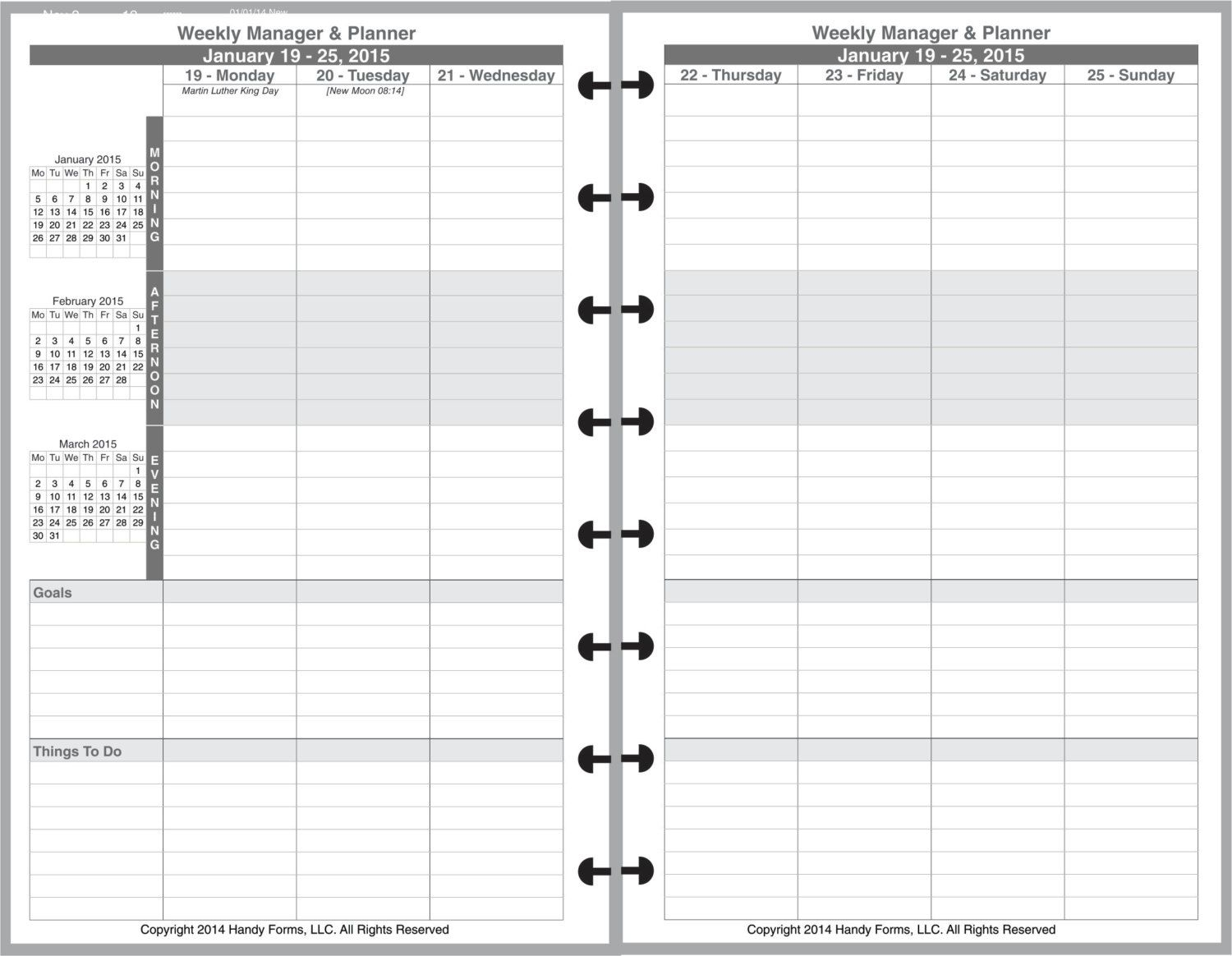 Weekly Manager Planner Organizer 2 Page Per Week 5