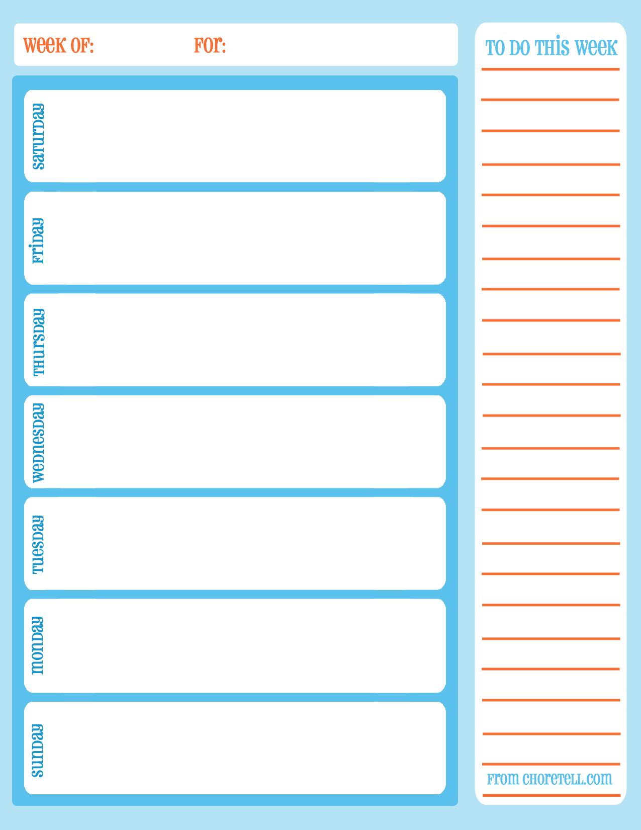Weekly Task List Chore Calendar | Chore Calendar, Free