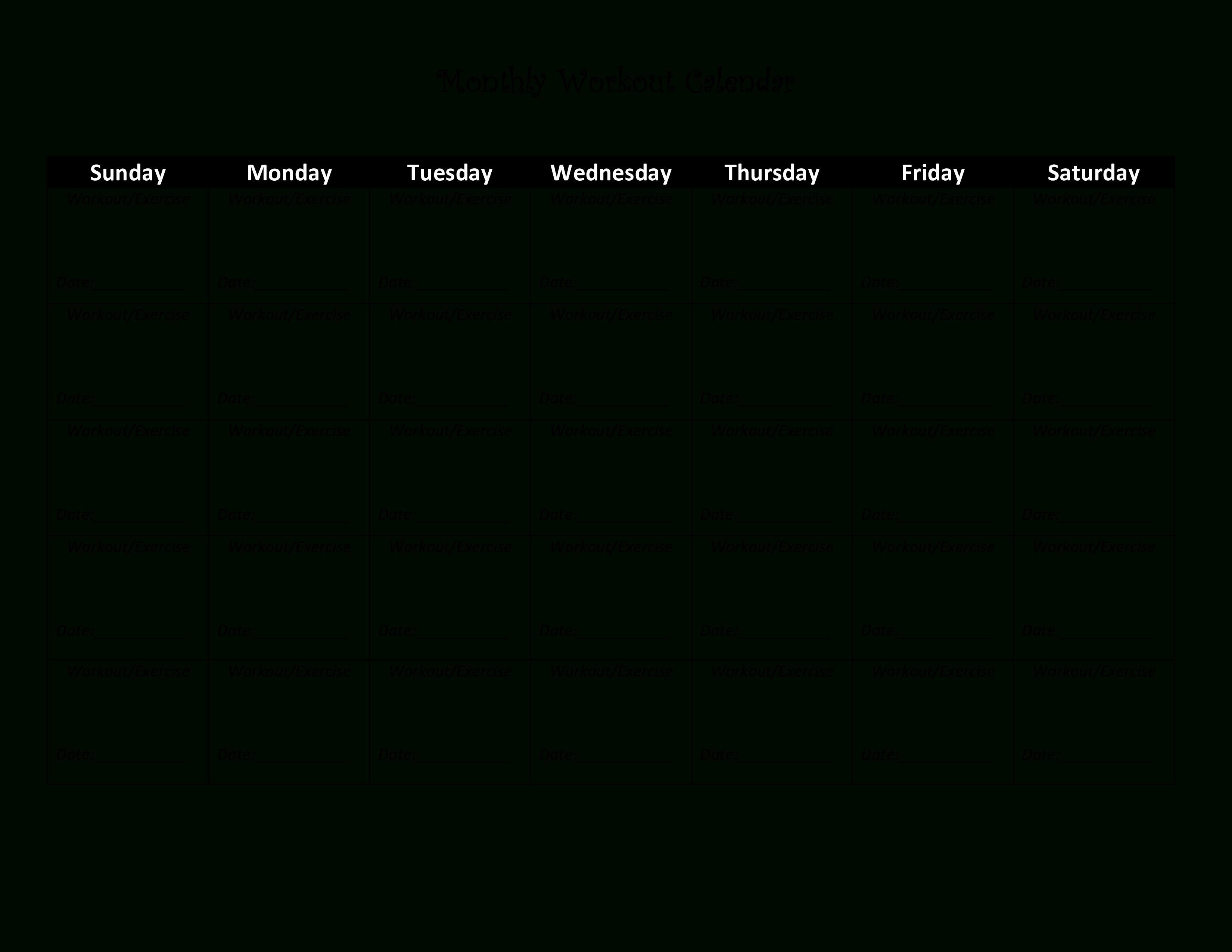 Workout Calendar - Wpa.wpart.co