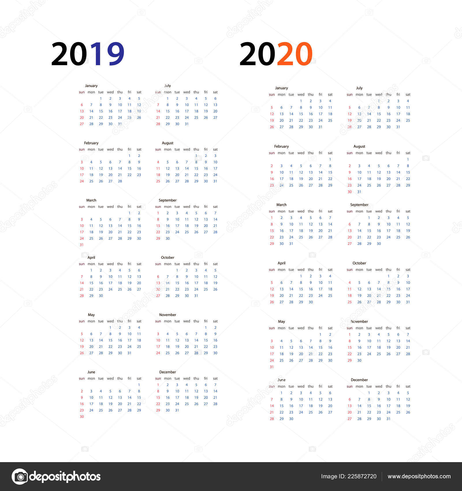 Year 2019 And Year 2020 Calendar Horizontal Vector Design