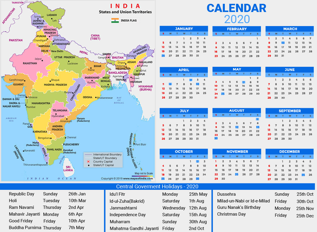Year 2020 Calendar, Public Holidays In India In 2020
