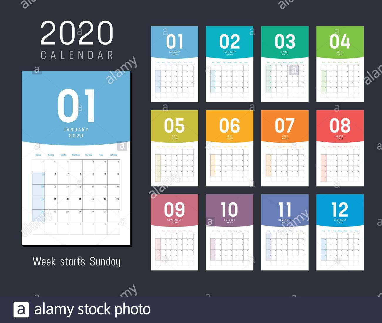 Year 2020 Monthly Desk Calendar. Week Starts Sunday. Vector
