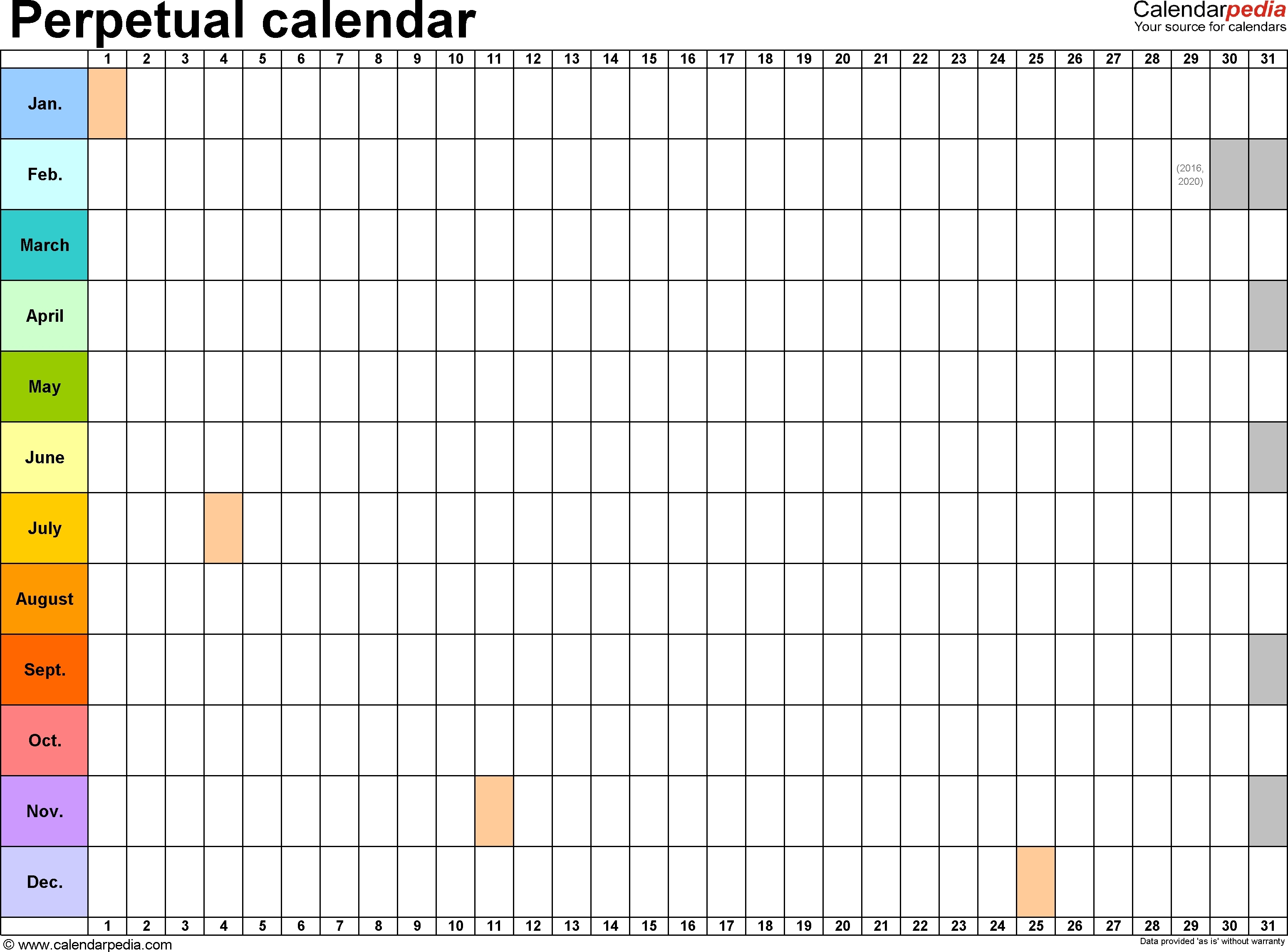 Year Calendar On One Page | Month Calendar Printable