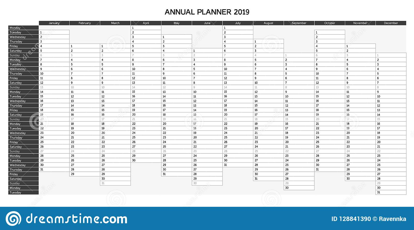 Year Planning Calendar For 2019 In English - Annual Planner