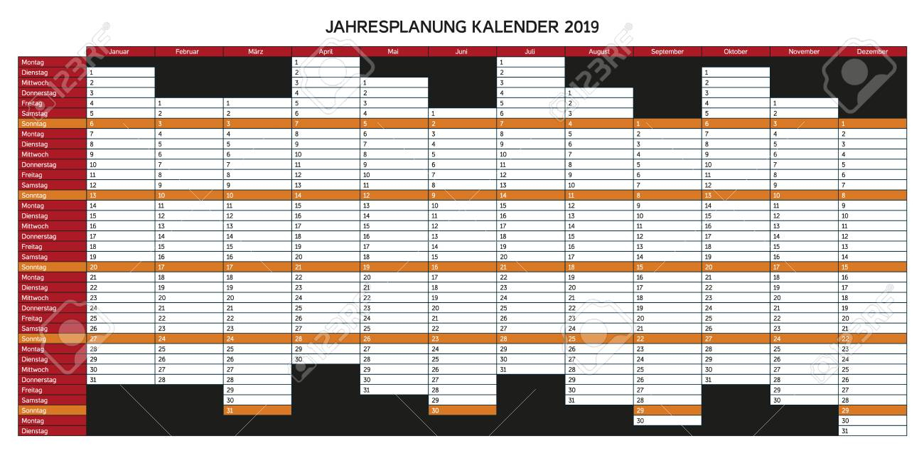 Year Planning Calendar For 2019 In German - Jahresplanung Kalender,..