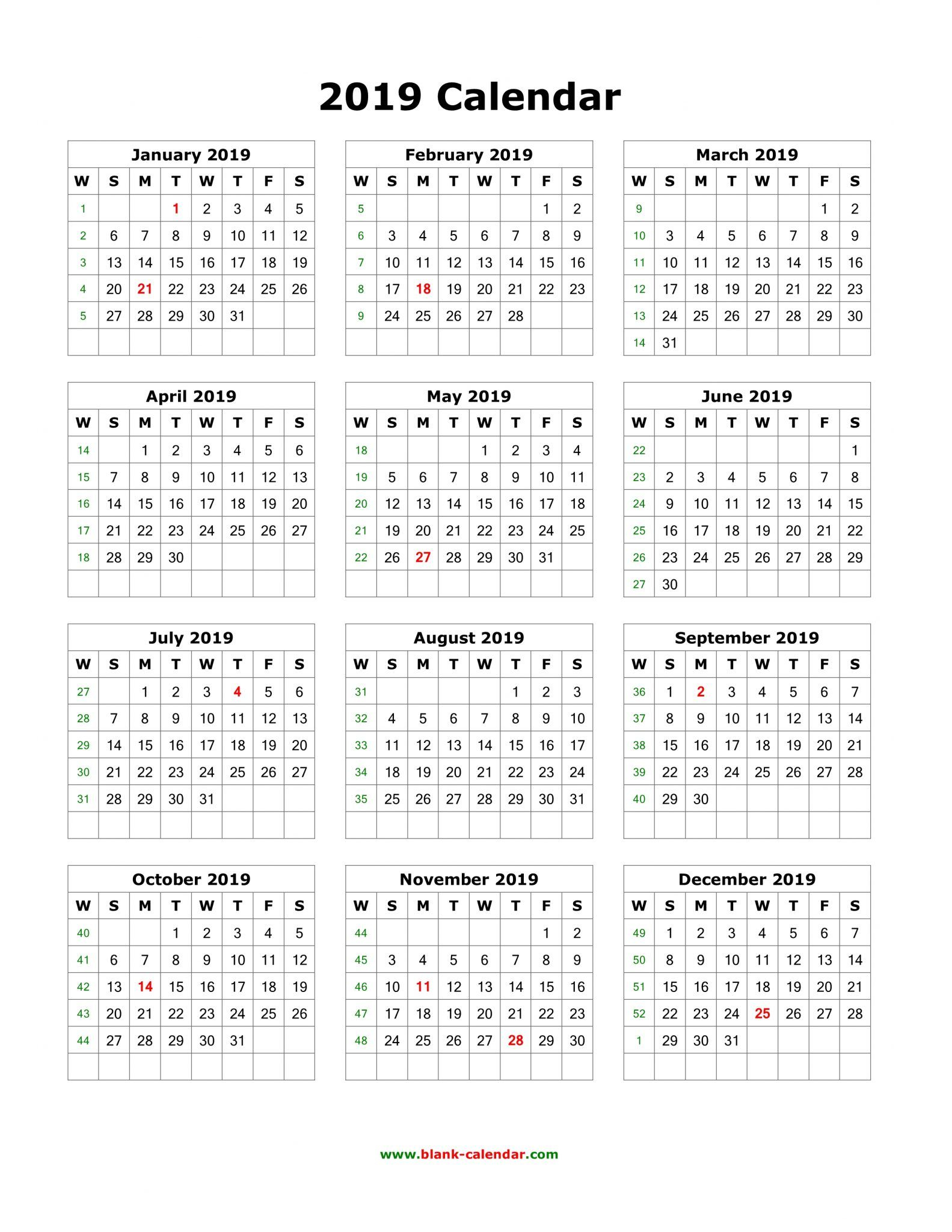 Yearly 2019 Calendar With Holidays | Printable Yearly