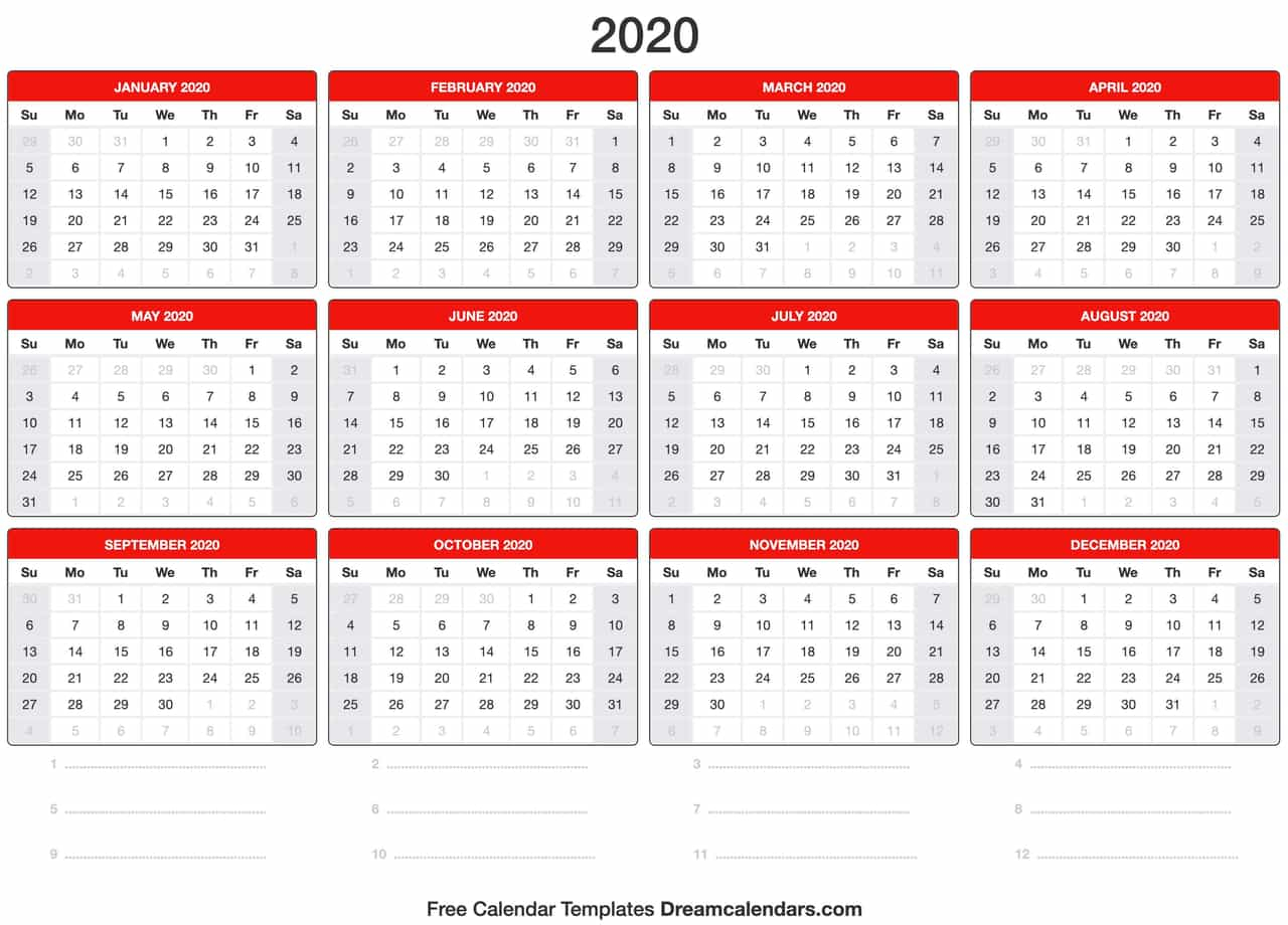 Yearly 2020 Calendar - Wpa.wpart.co