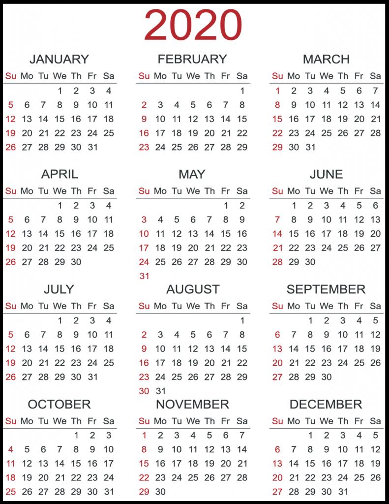 Yearly 2020 Printable Calendar | Best Printable Calendar