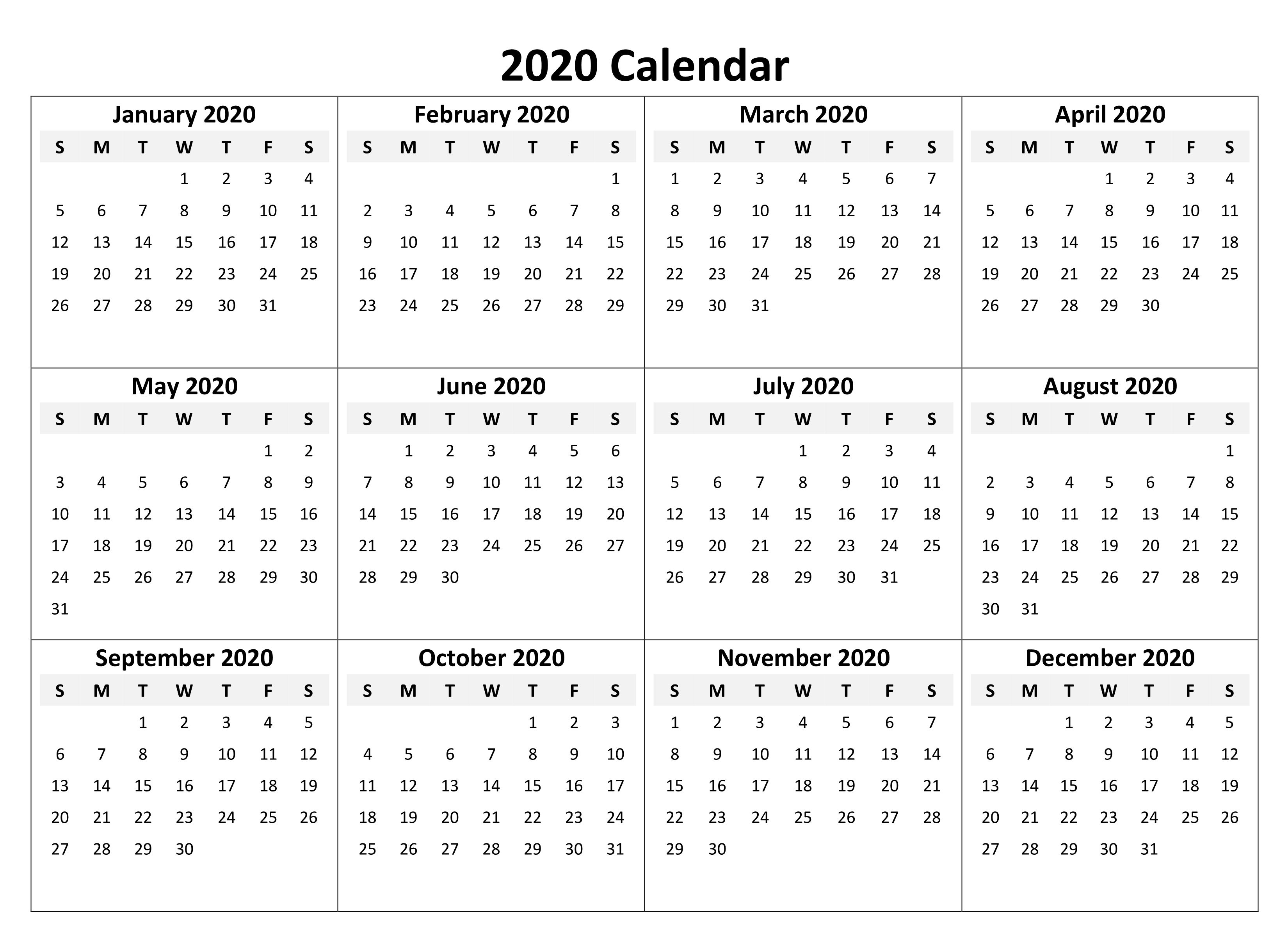 Yearly Calendar 2020 Free Download | Printable Calendar