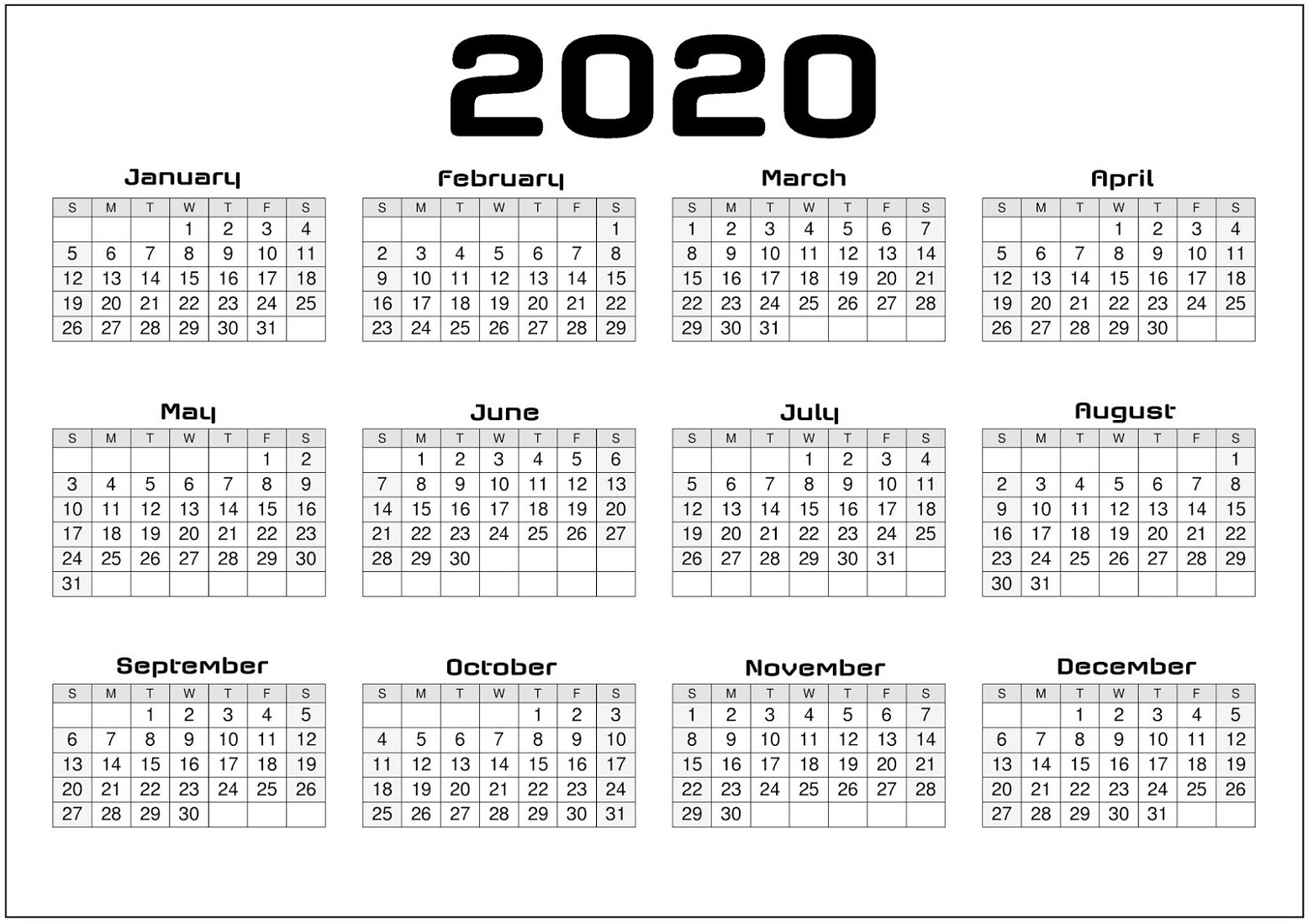 Yearly Calendar 2020 Printable Free For Agenda | Calendar