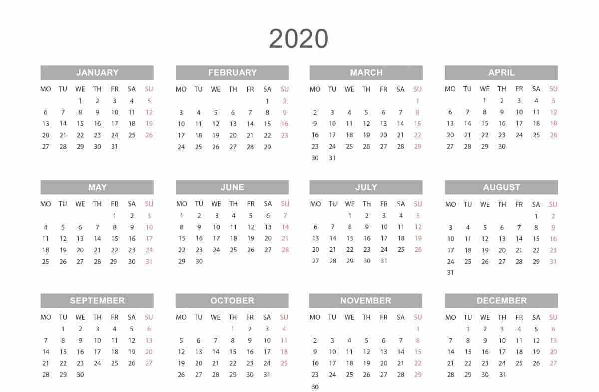 Yearly Calendar 2020 | Weekly Calendar Template, Printable