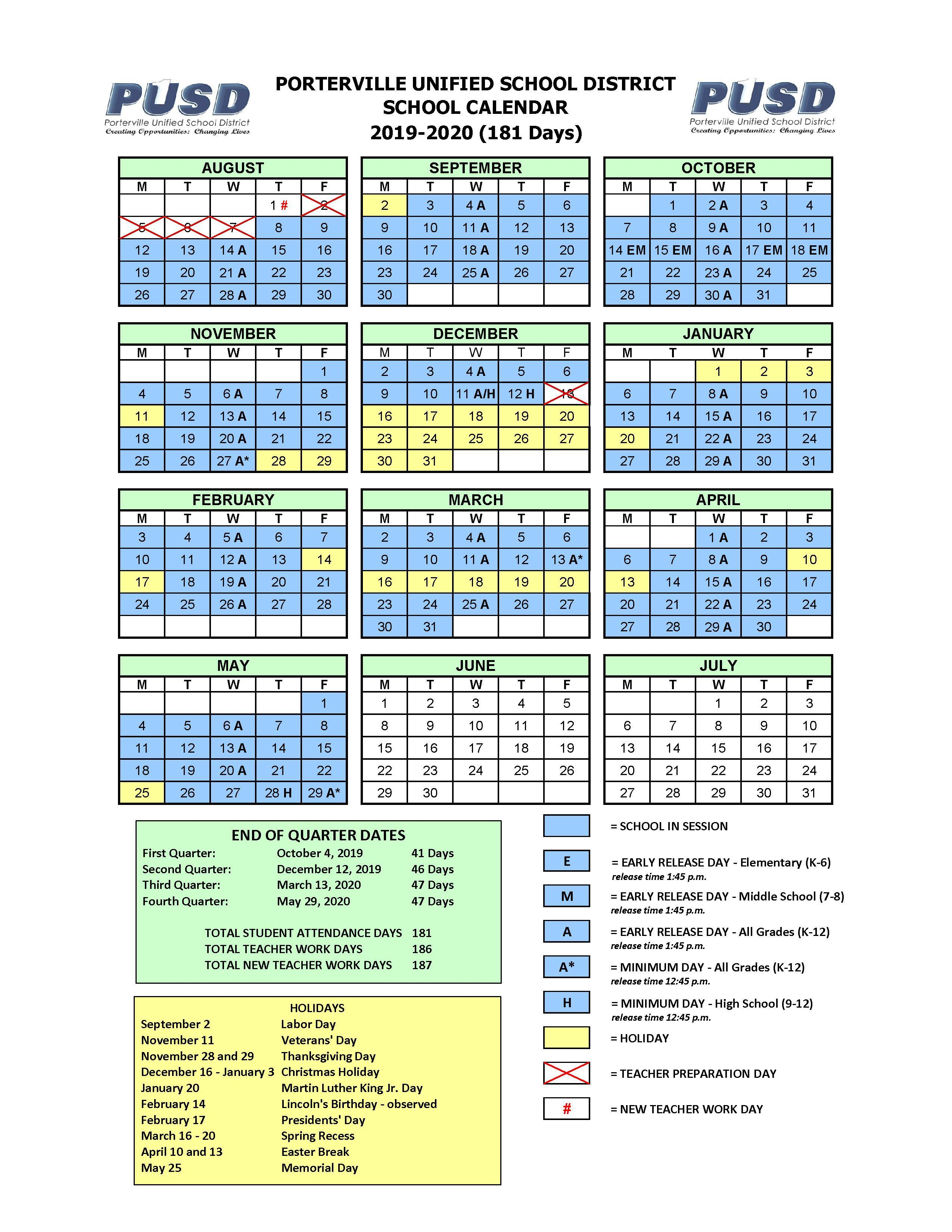 Yearly Calendar – Calendars – Porterville Unified School