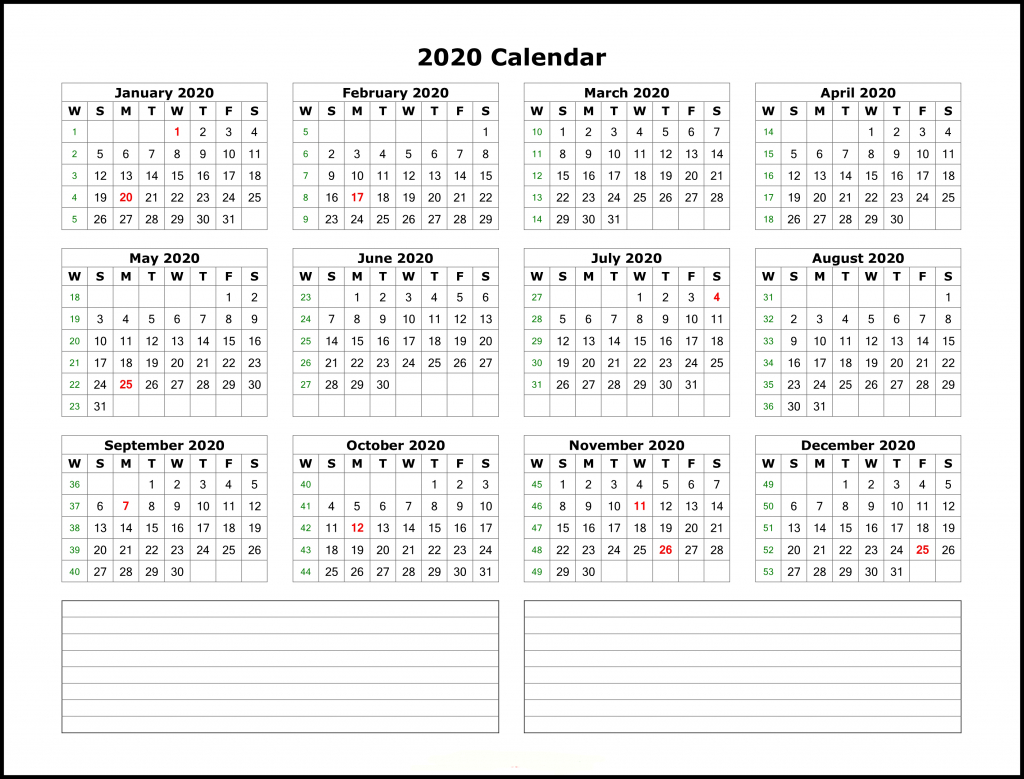 Yearly Calendar Template 2020 - Wpa.wpart.co