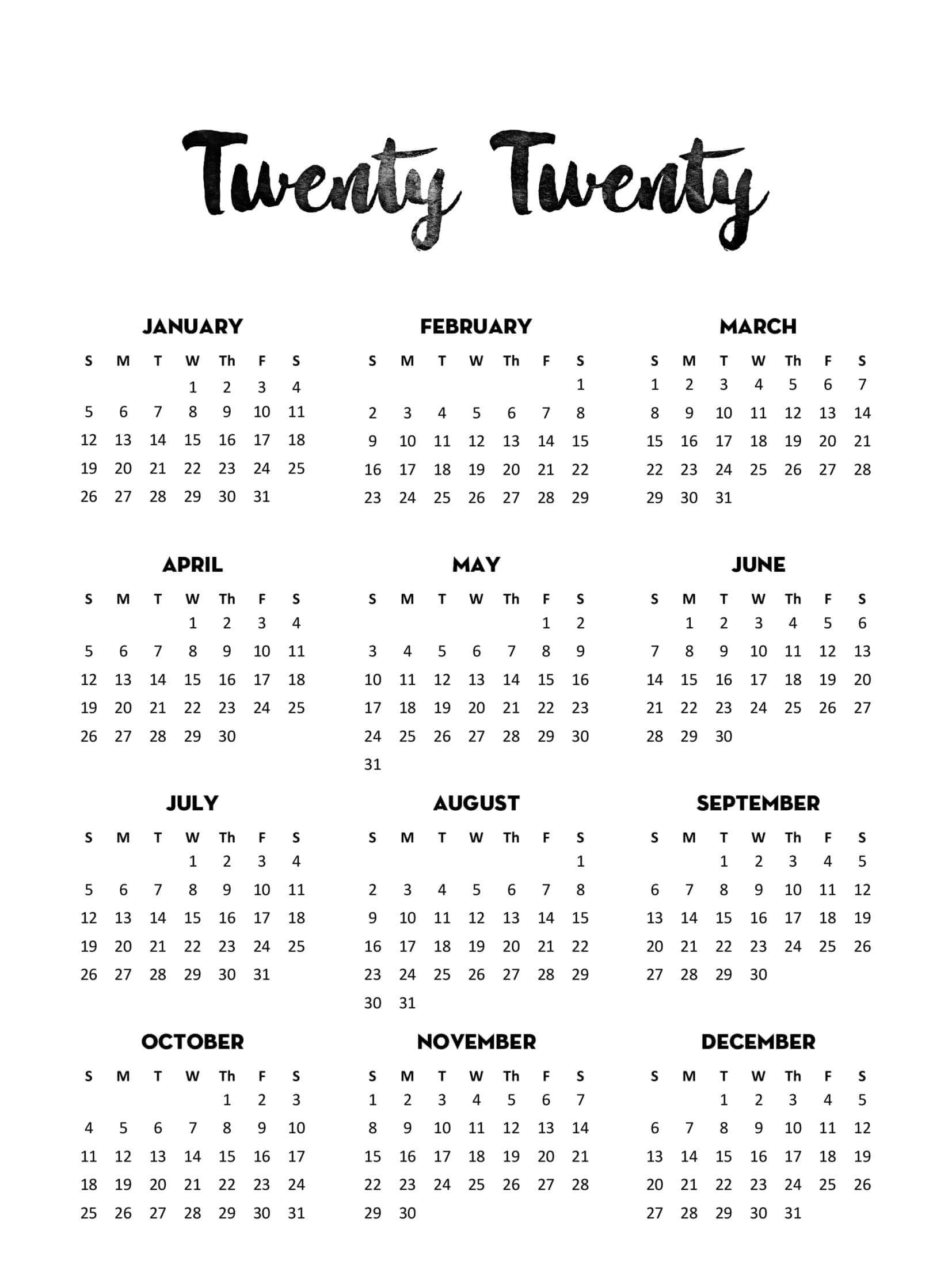 Yearly Calendar Template With Notes 2020 - 2019 Calendars