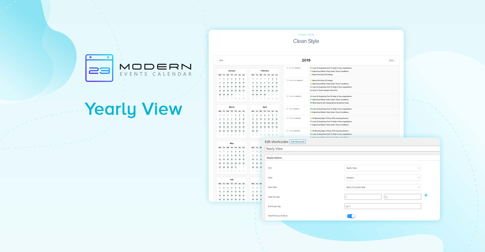 Yearly View Skin - Modern Events Calendar