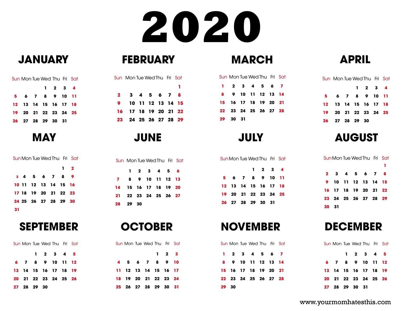 York U Calendar 2020 | Month Calendar Printable