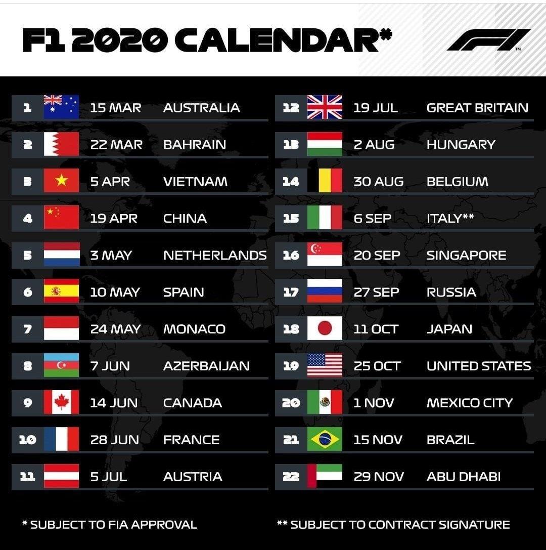 """Zhorz On Twitter: """"formula 1 Calendar 2020 #f1"""
