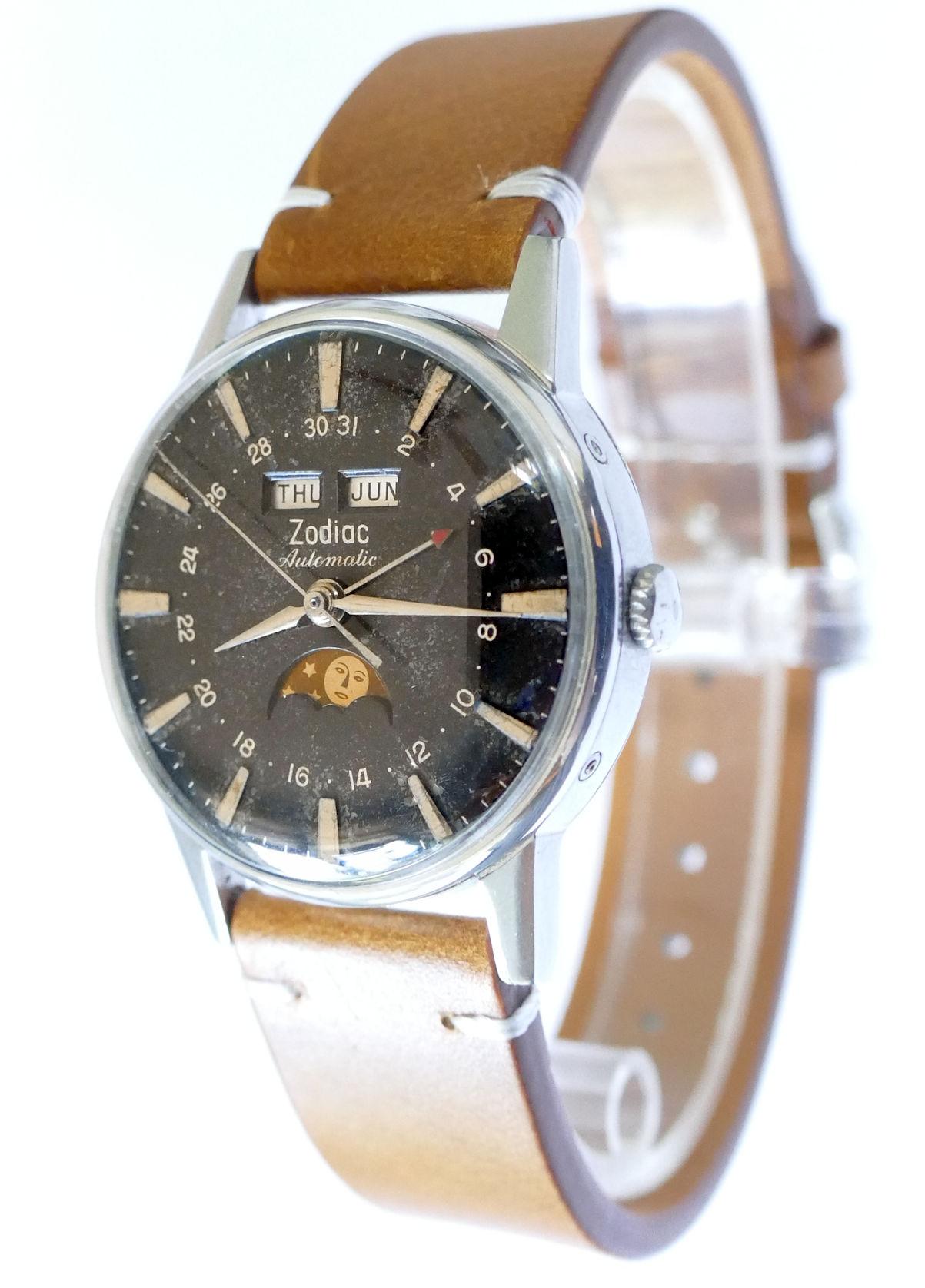 Zodiac Triple Date Moonphase Automatic Steel Watch 742-908