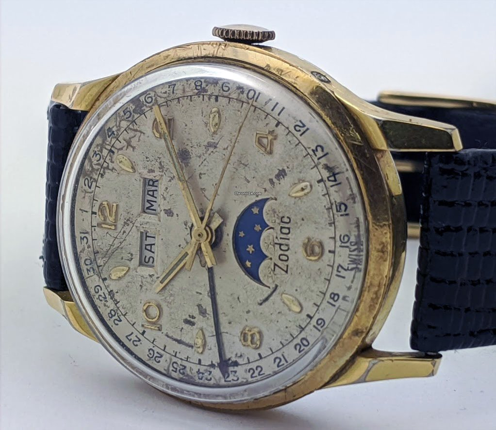 Zodiac Vintage Triple Calendar Moonphase Manual Wind For