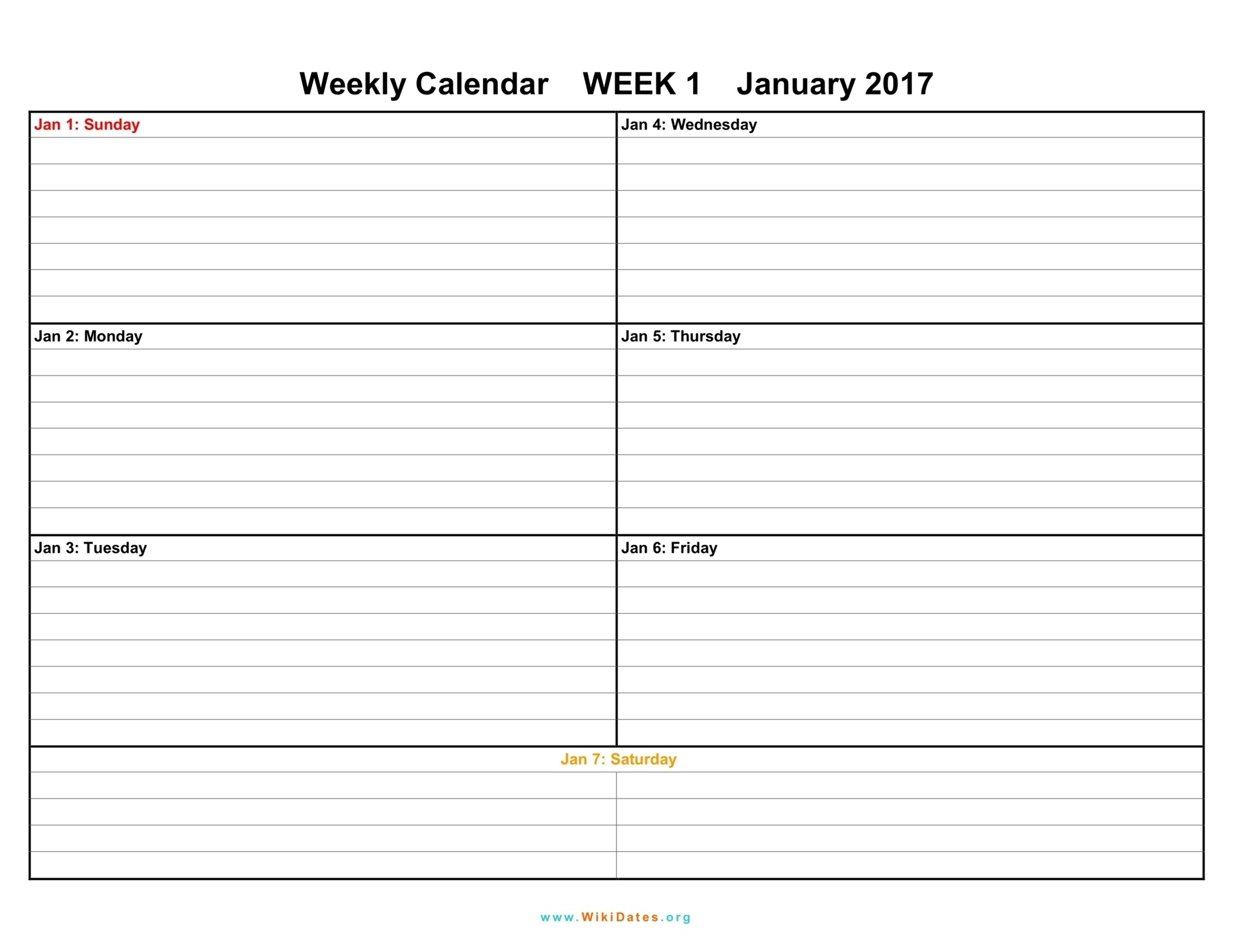1 Week Vacation Calendar Printable – Template Calendar Design