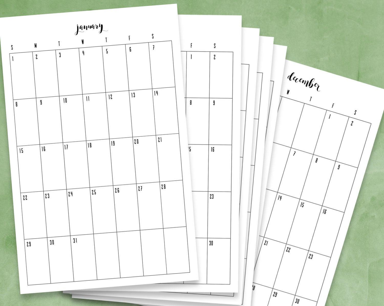 12 Month Printable Calendar 2017 Calendar 2017 Pdf Vertical