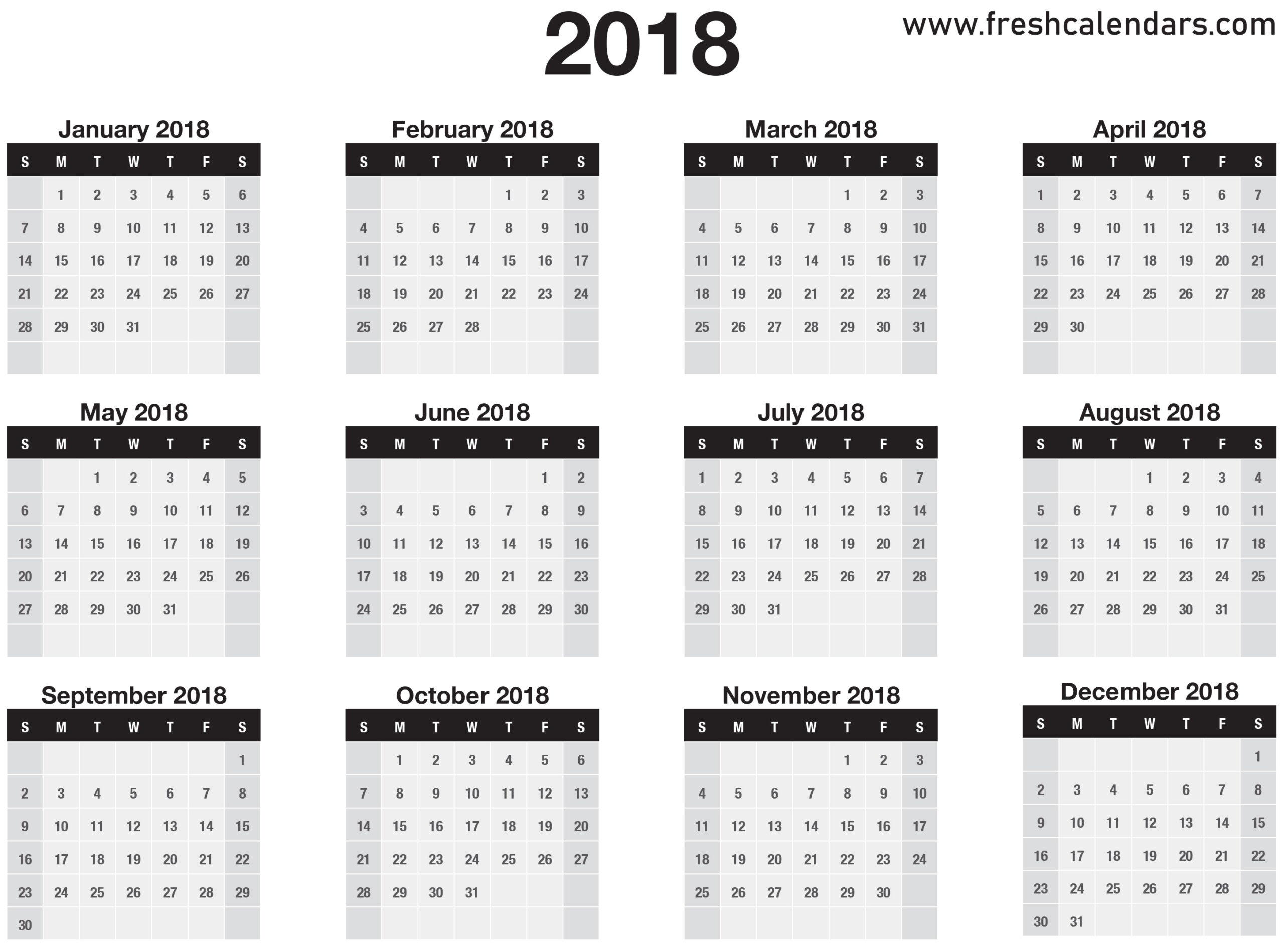 12 Months Calendar – Printable Year Calendar