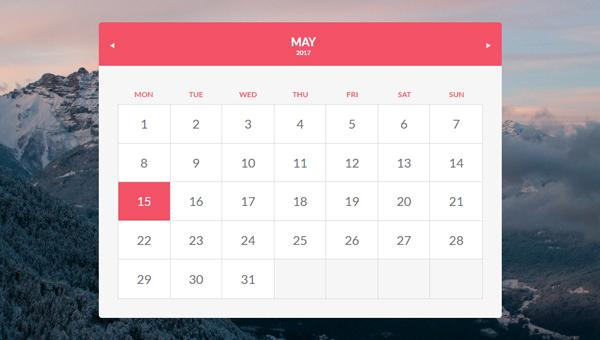 15 Beautiful Css Calendar Code Snippet   Ginva