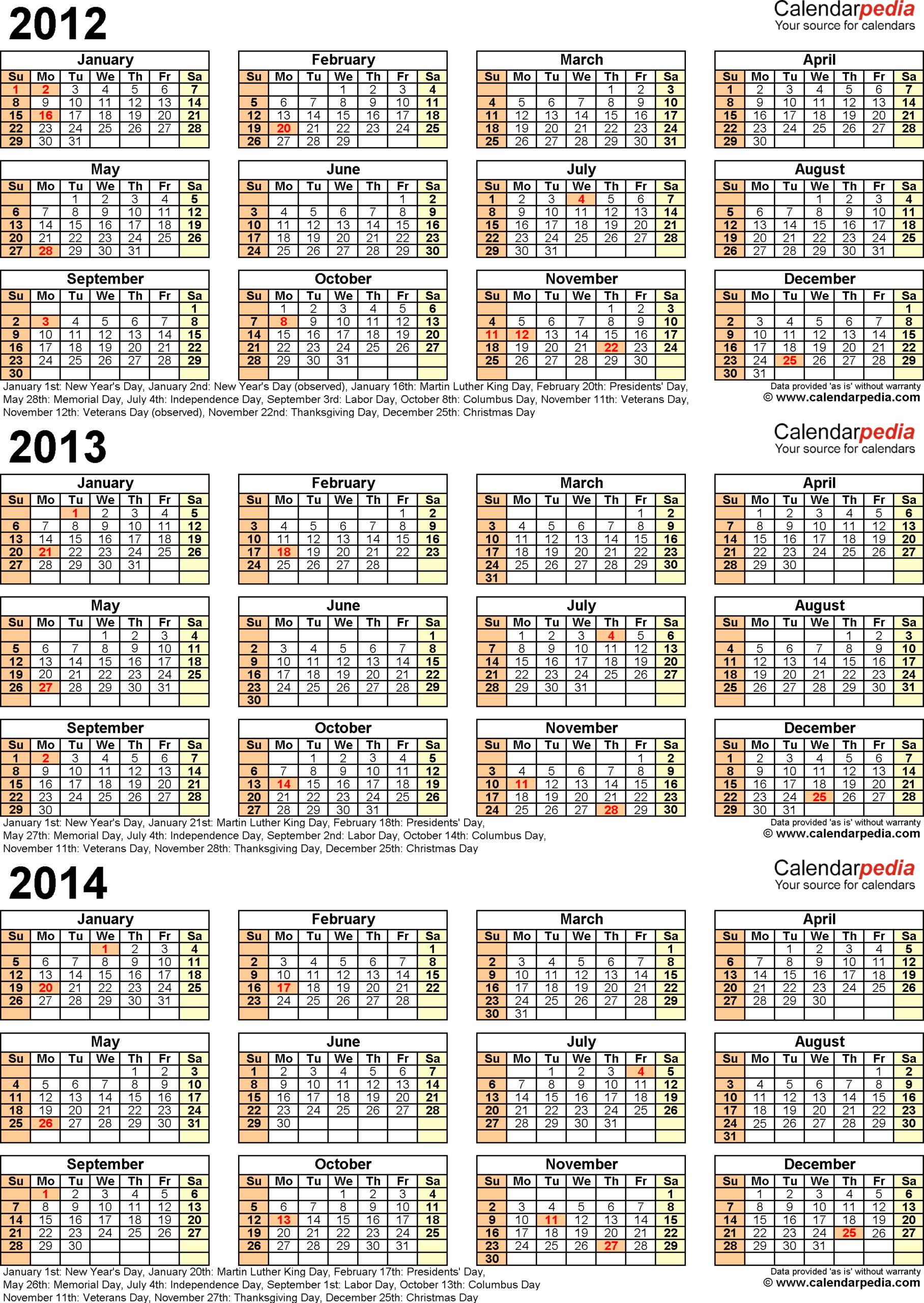 2012-2014 Three Year Calendar - Free Printable Pdf Templates