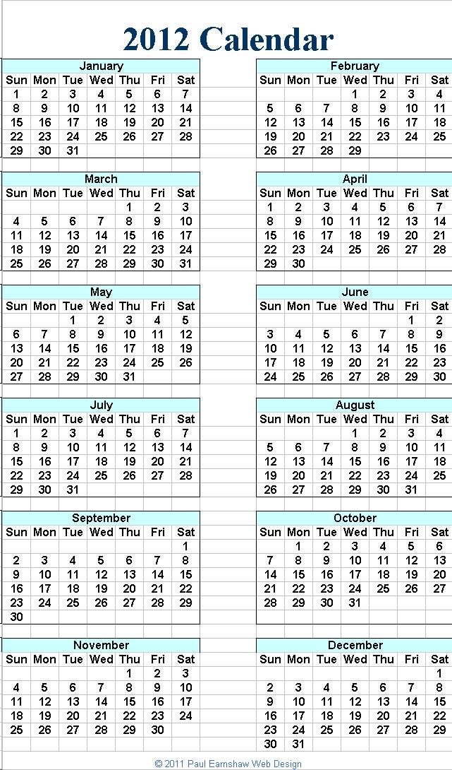2012 Calendar Uk