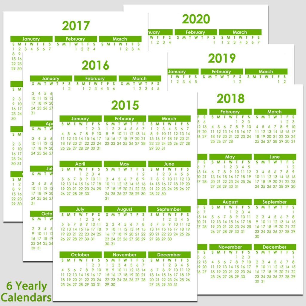 "2015 To 2020 Yearly Calendar - 8 1/2"" X 11"" 