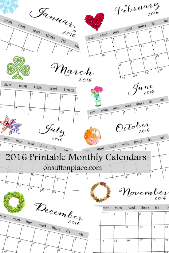2016 Printable Monthly Calendar | On Sutton Place