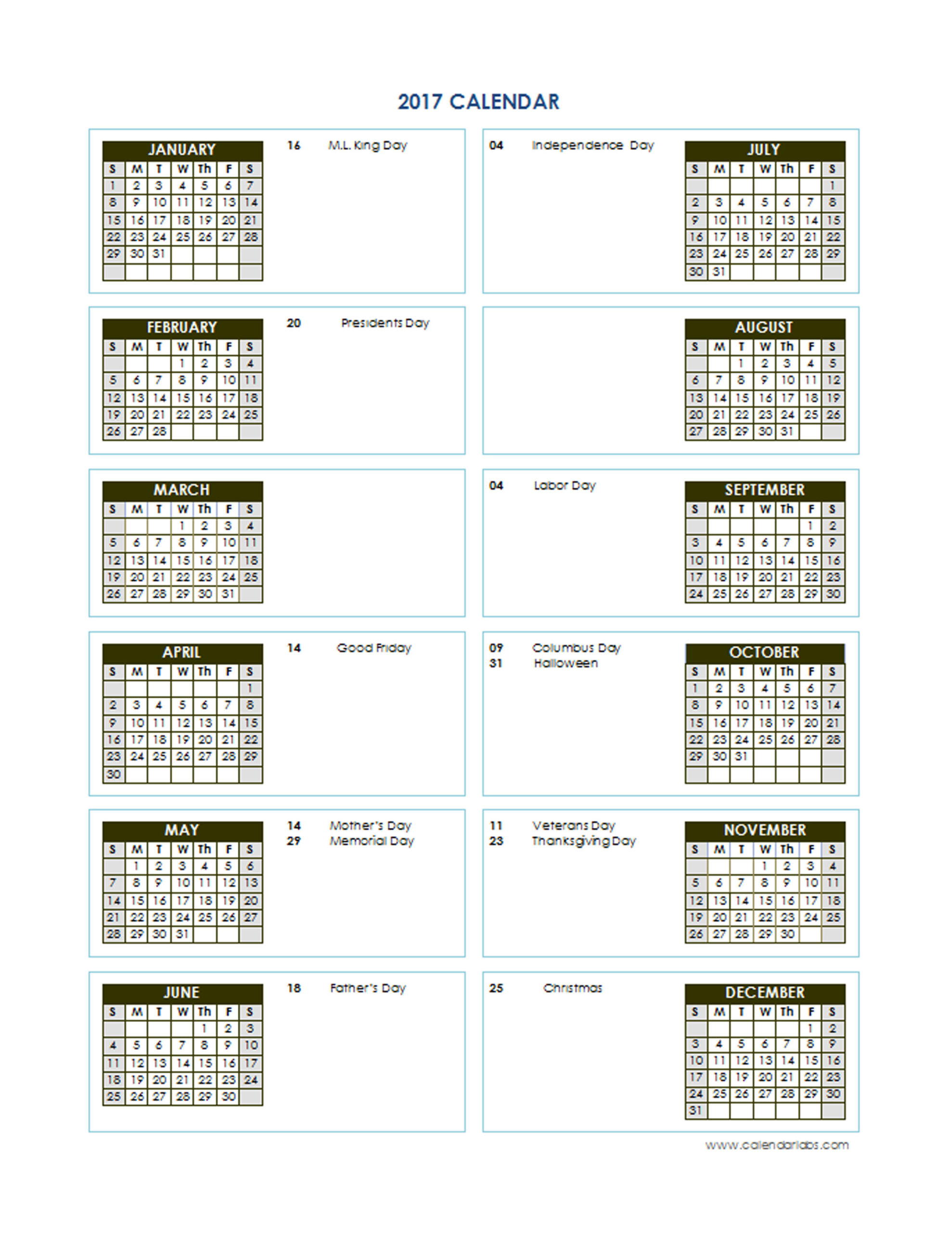 2017 Yearly Calendar Template Vertical 02 - Free Printable