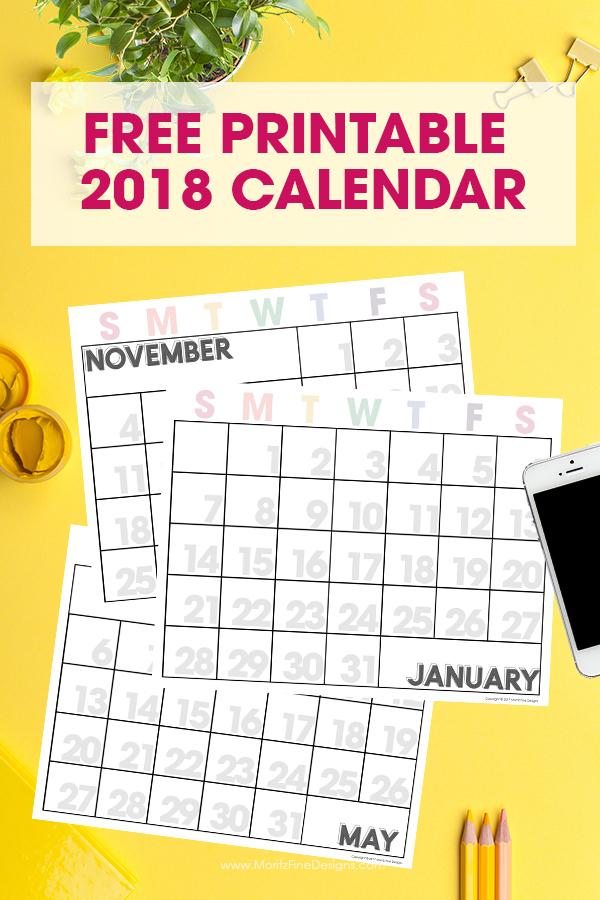 2018 Free Printable Calendar | Editable Monthly Calendar