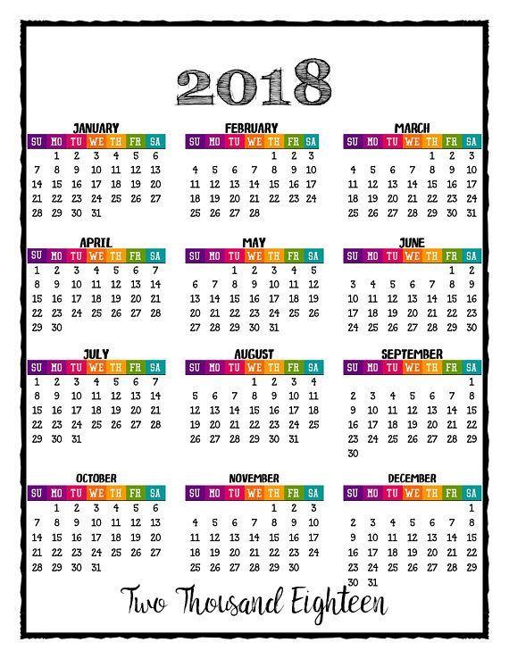 2018 Printable Caribbean Color Calendar With Bonus 2017 #