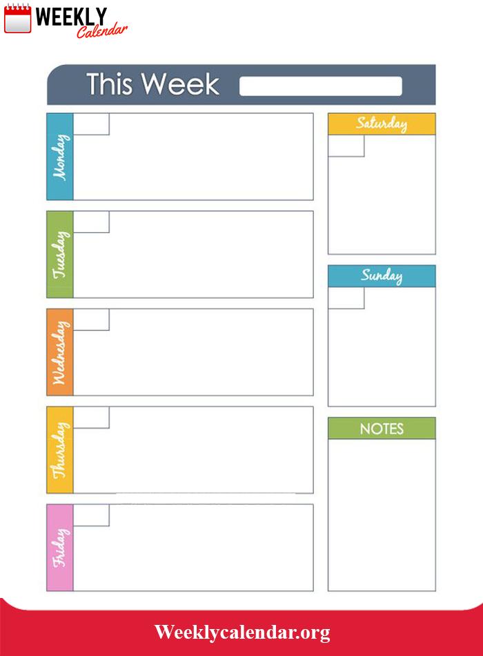 2019 Blank Weekly Calendar Printable In Pdf, Word & Excel