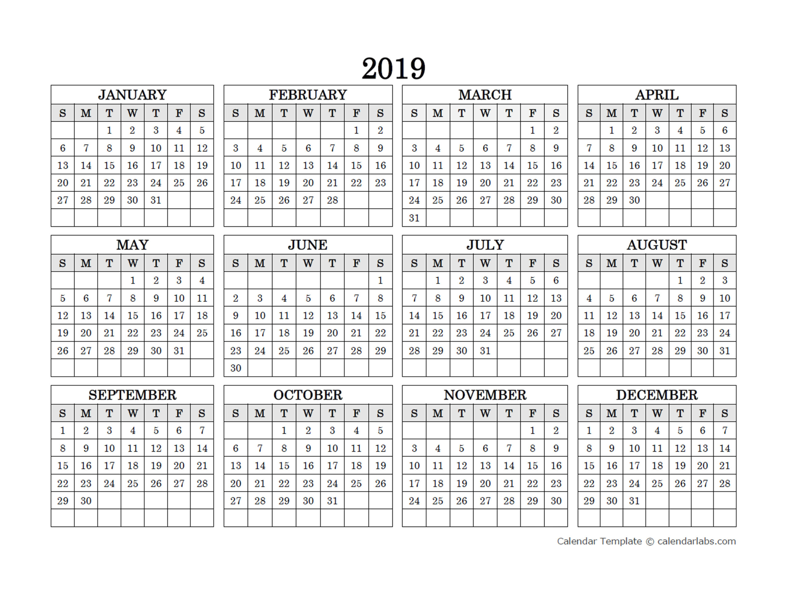 2019 Blank Yearly Calendar Landscape - Free Printable